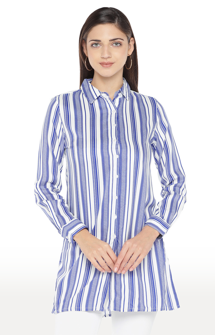 globus   White and Blue Striped Shirt Style Top