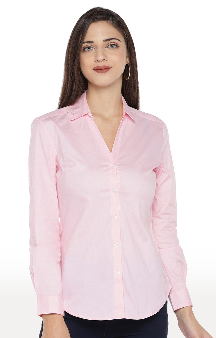 globus | Pink Solid Casual Shirt
