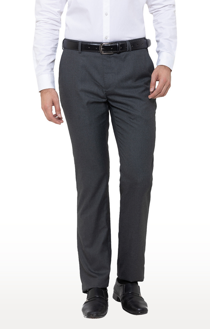 globus | Grey Solid Flat Front Formal Trousers