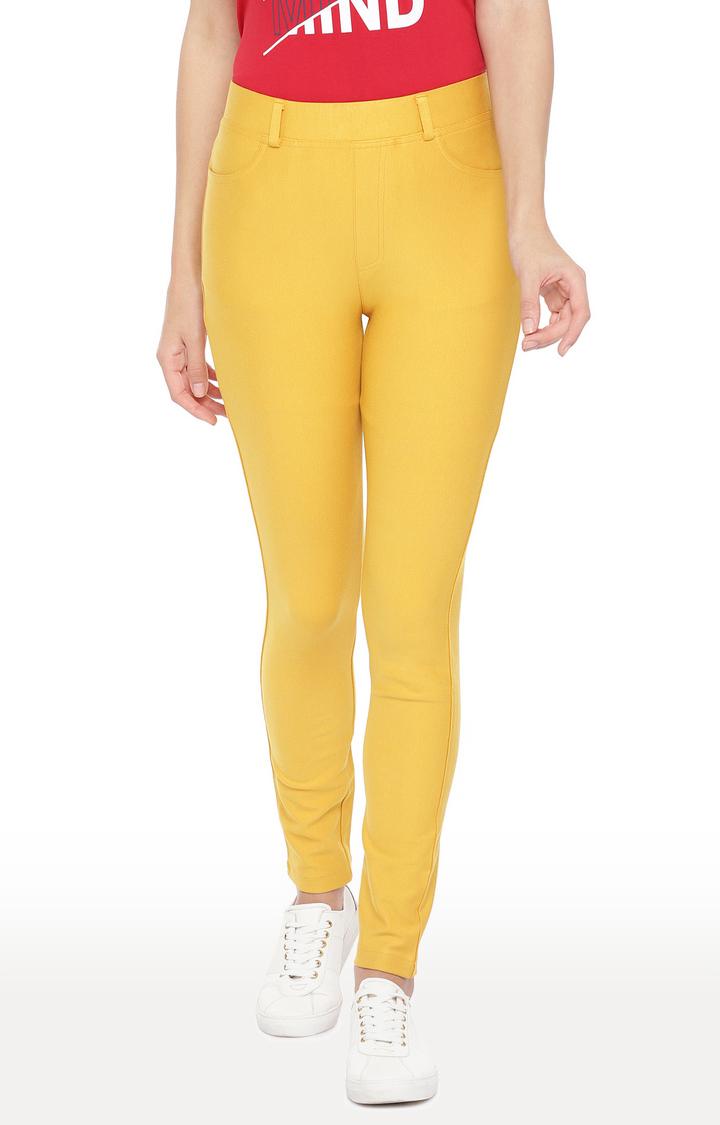 globus | Yellow Solid Slim Fit Jeggings