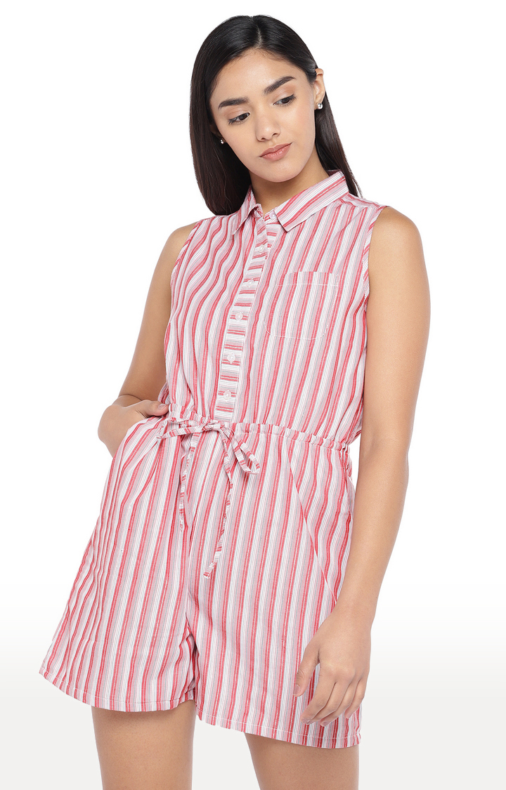 globus   Red Striped Jumpsuit