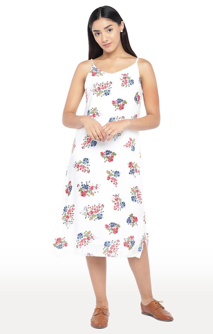 globus   White Floral Shift Dress