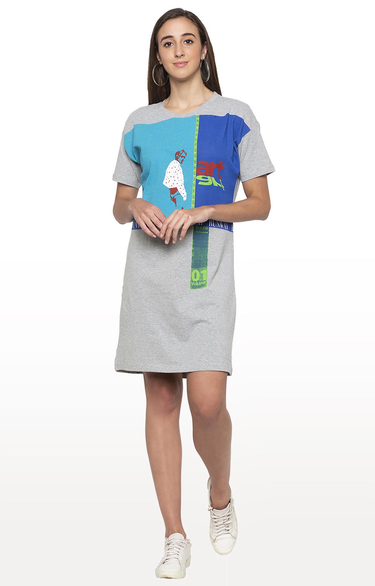globus | Grey Printed Shift Dress