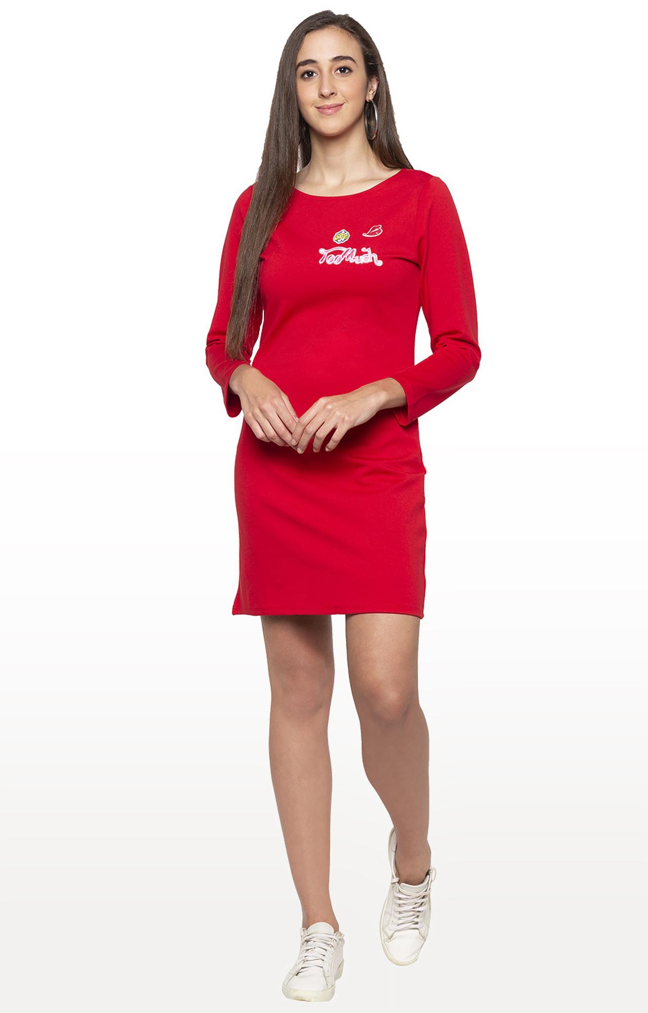 globus   Red Printed Shift Dress