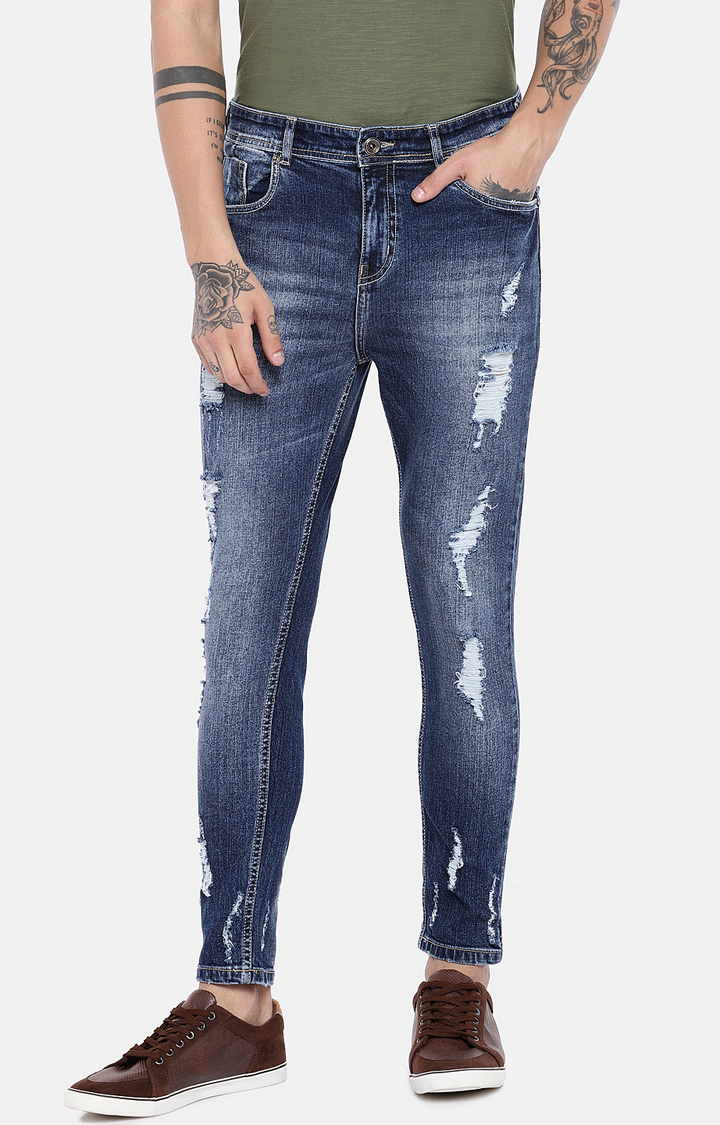 globus   Blue Ripped Tapered Jeans