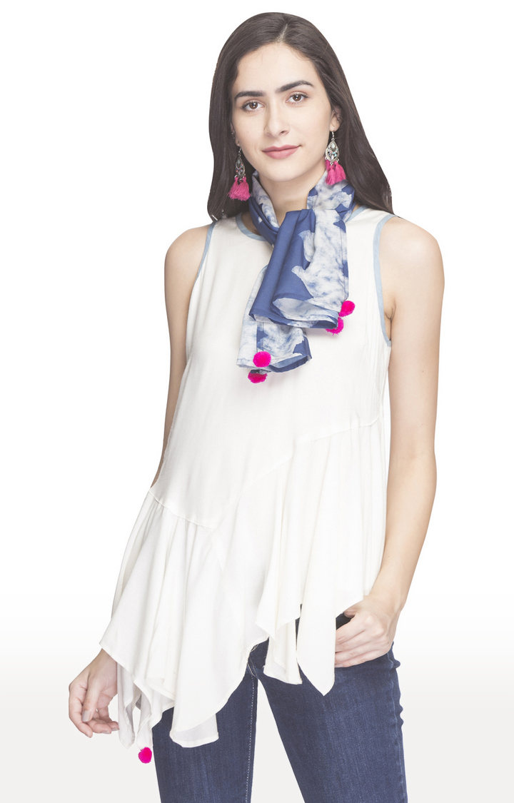 globus | White Printed Asymmetric Top with Printed Scarf