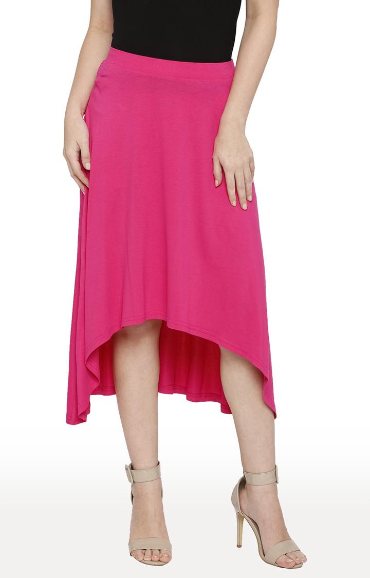 globus | Pink Solid Asymmetric Skirt