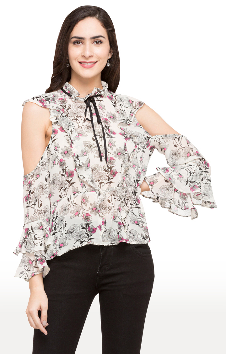 globus   Off White Floral Ruffled Top