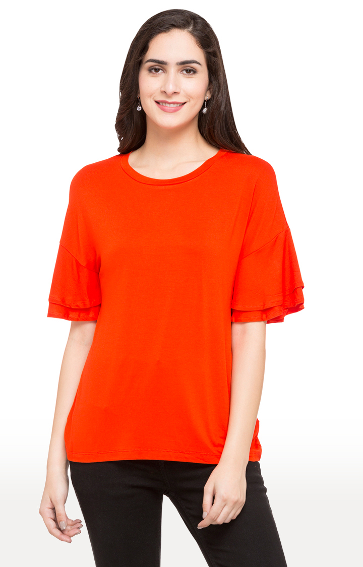 globus   Red Solid Layered Sleeves Top
