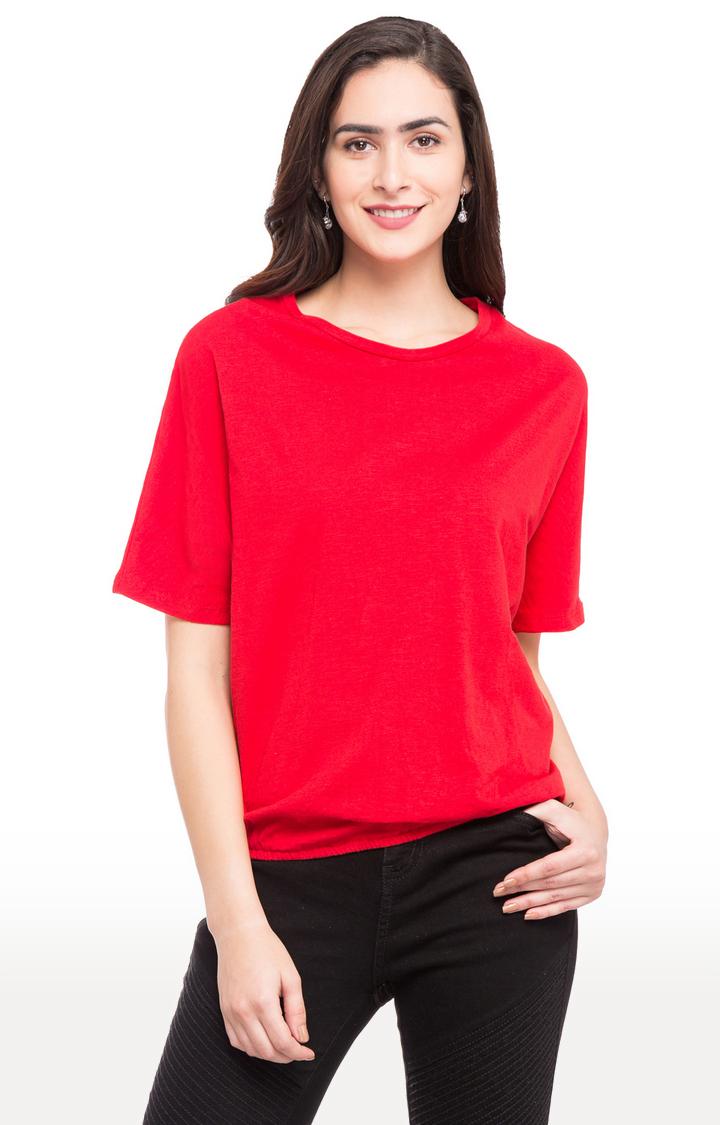 globus | Red Solid Dolman Sleeves Blouson Top