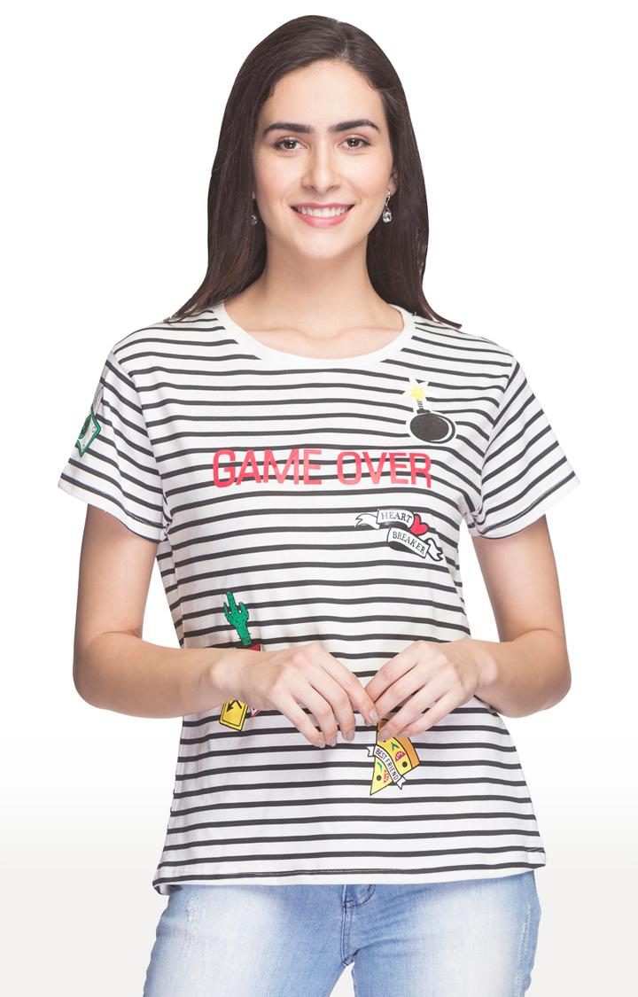 globus   Black and White Striped T-Shirt