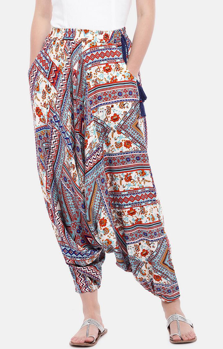 globus | Blue Loose Fit Printed Drop Crotch Salwar