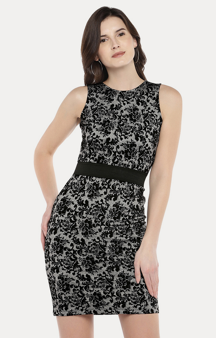 globus | Black Printed Sheath Dress