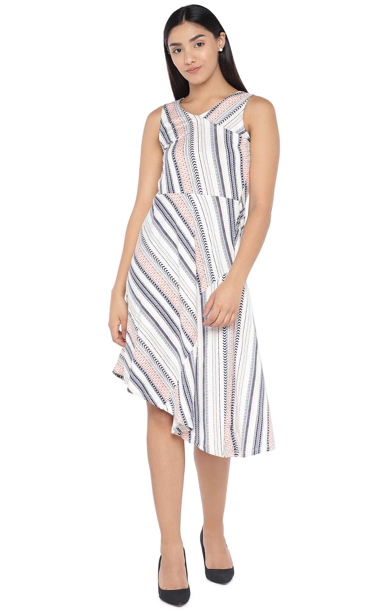 globus | Ivory Printed Asymmetric Dress
