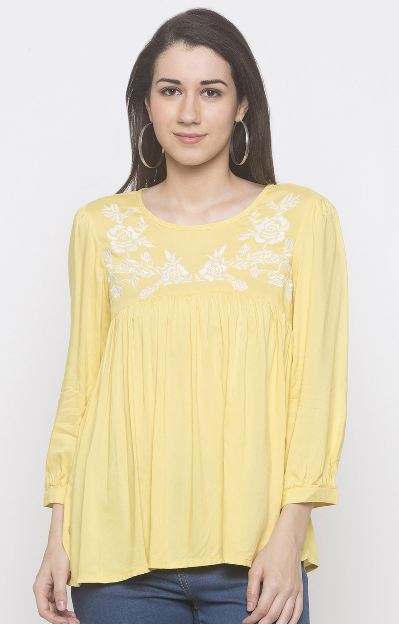 globus | Yellow Embroidered Top