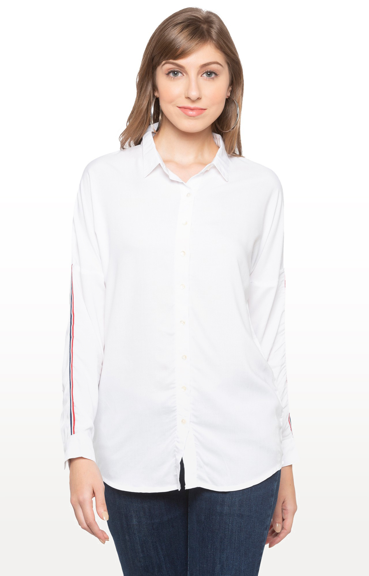 globus   White Solid Casual Shirt