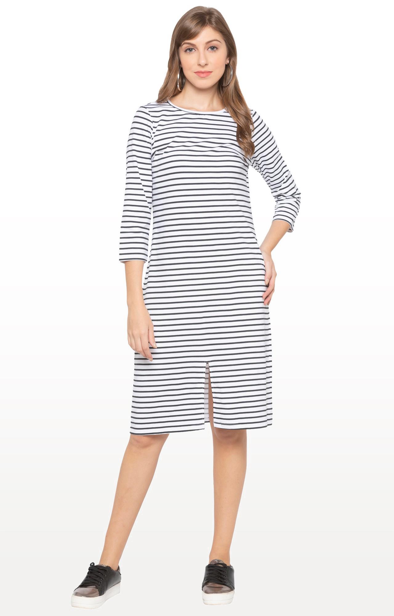 globus   White Striped Shift Dress
