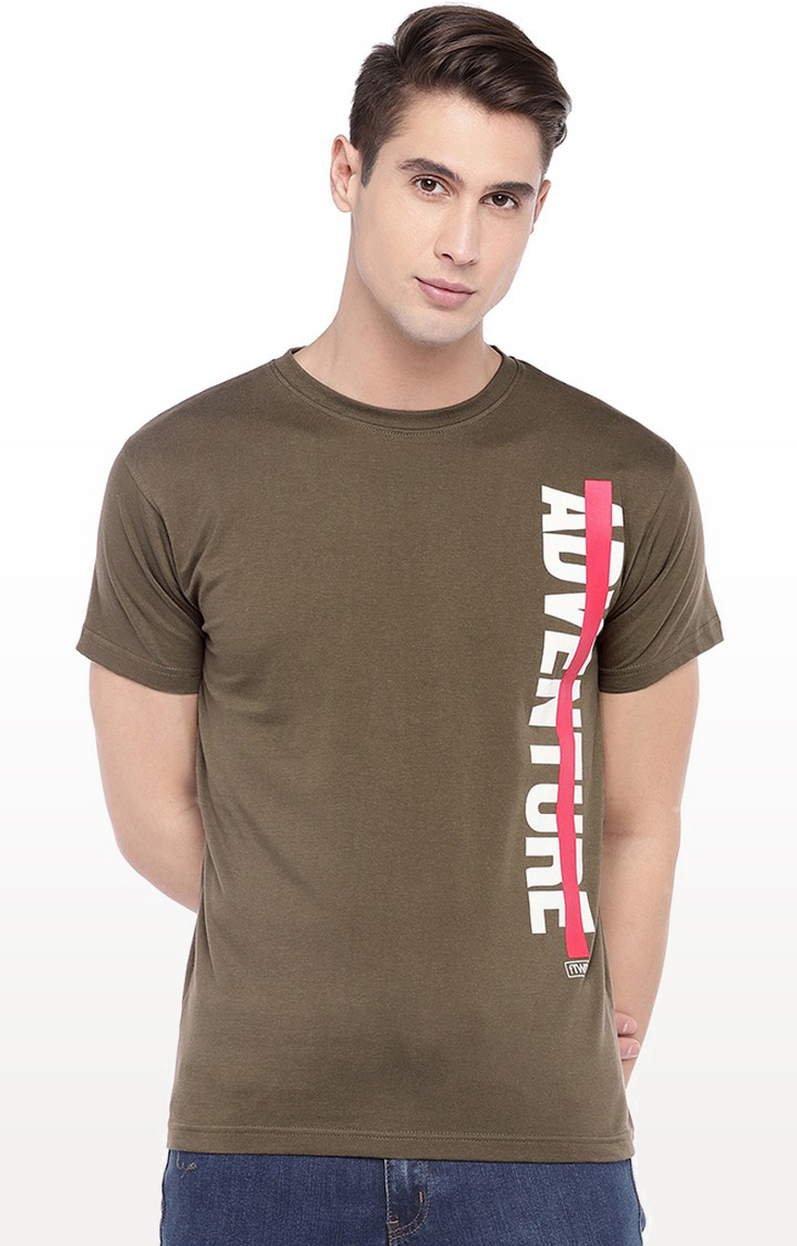 globus | Olive Printed Round Neck T-Shirt