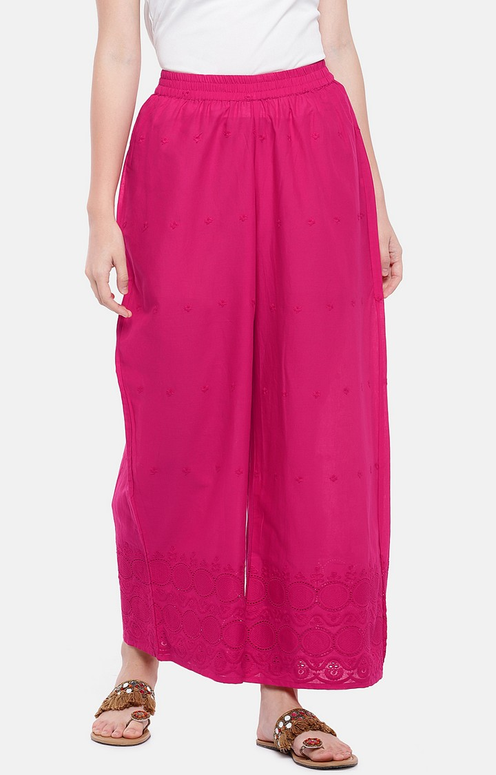 globus | Pink Embroidered Palazzos