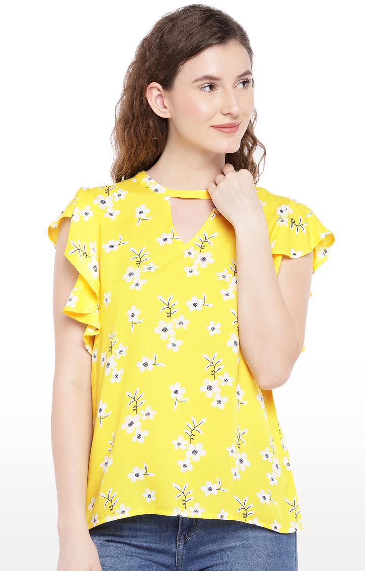 globus   Yellow Printed Top