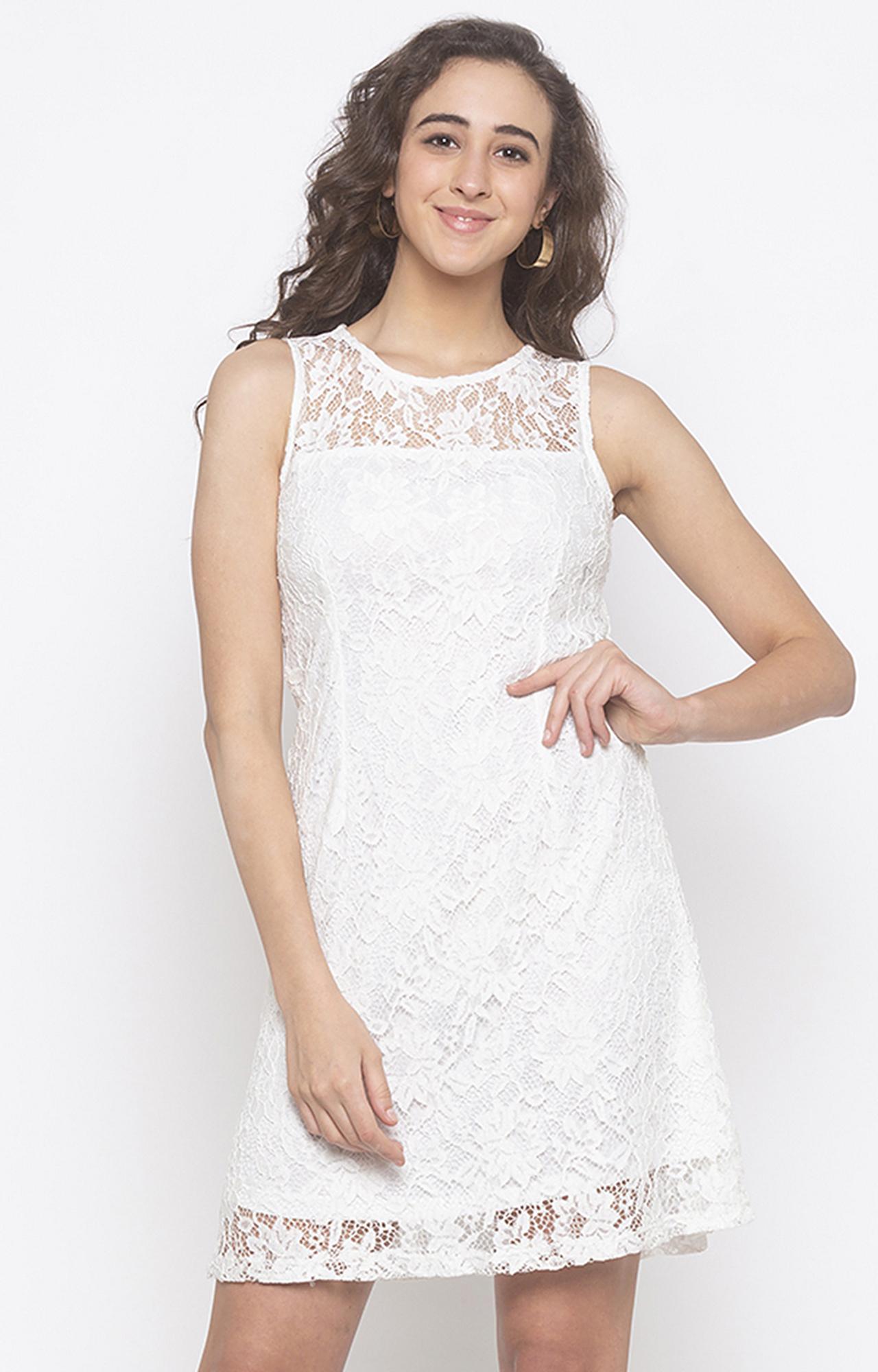 globus   White Embroidered Shift Dress