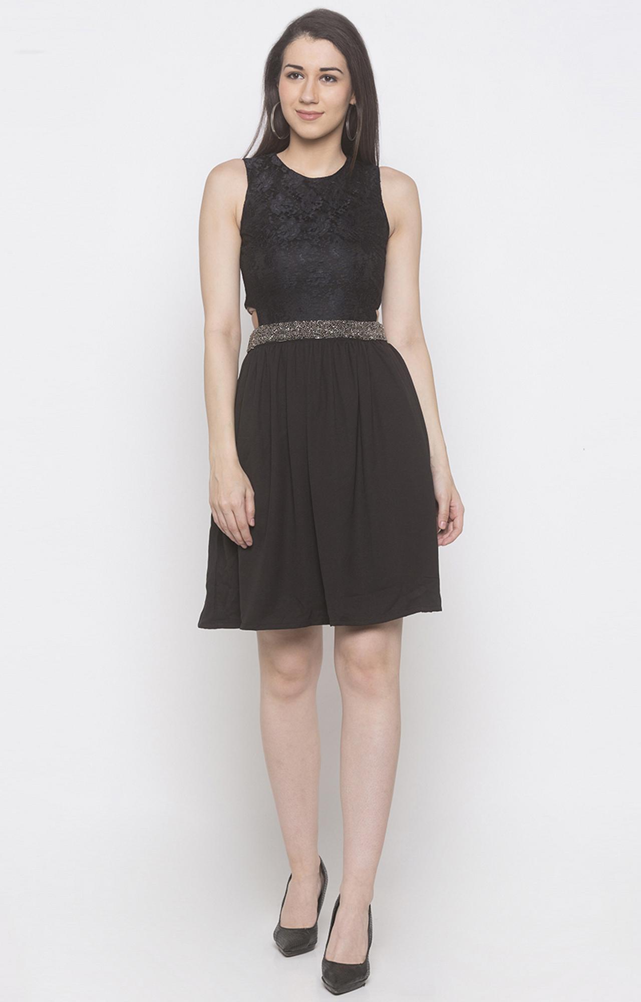 globus   Black Printed Skater Dress