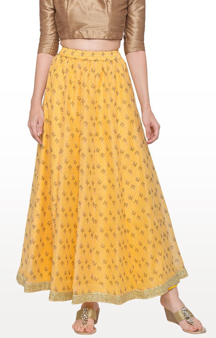 globus   Yellow Printed Flared Skirt