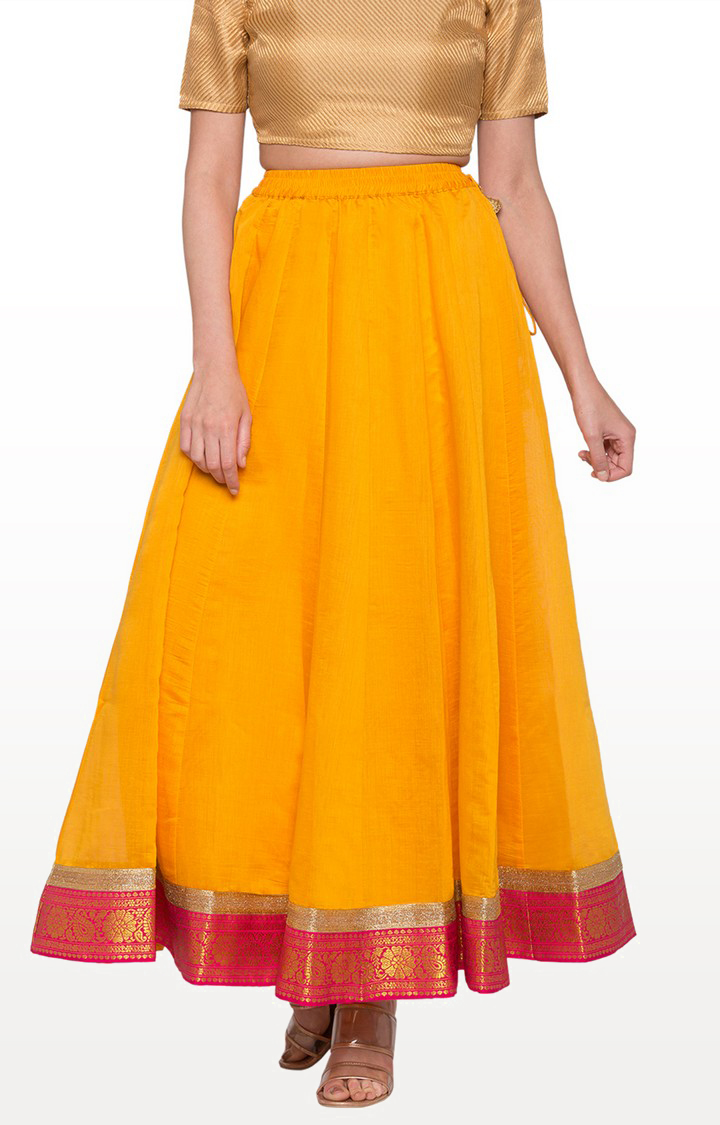 globus   Yellow Solid Flared Skirt