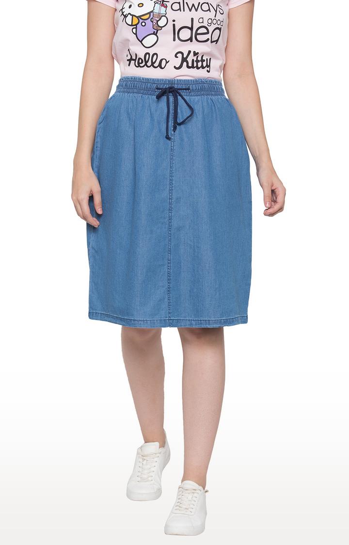 globus   Blue Solid Flared Skirt