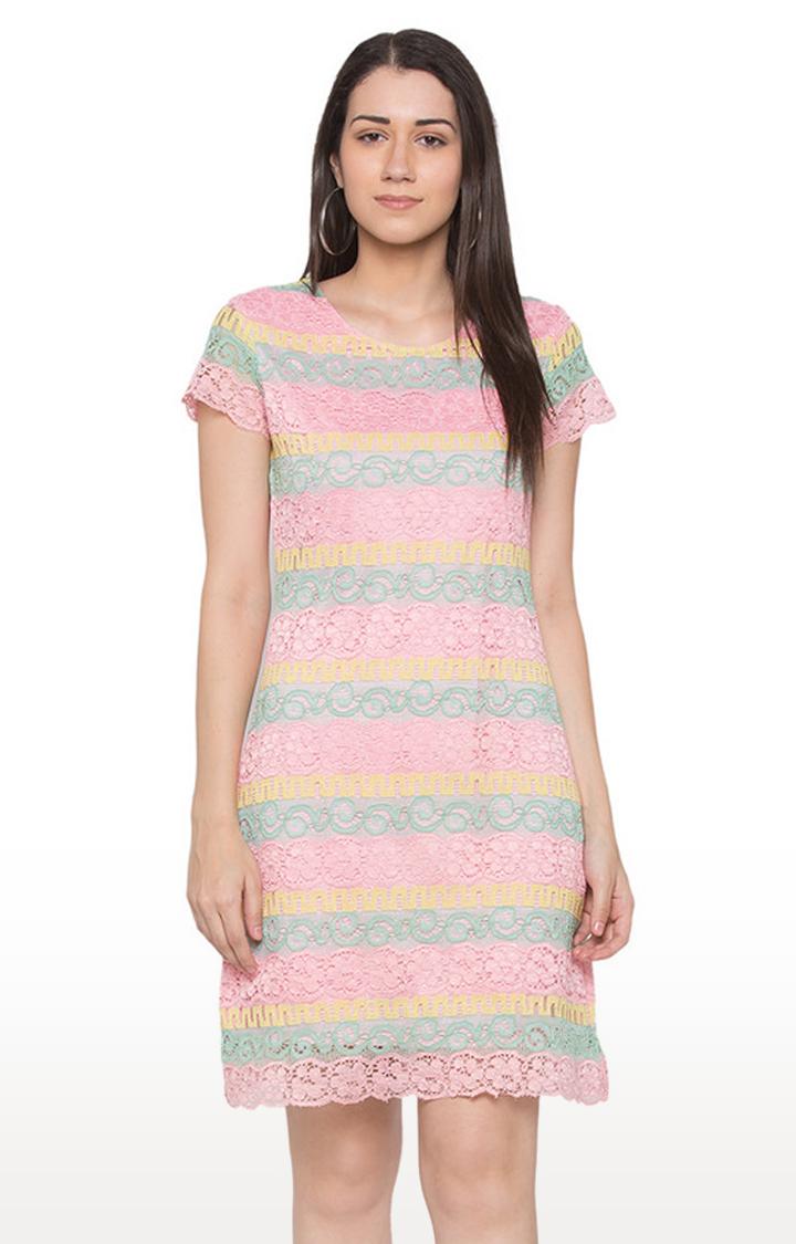globus | Pink Embroidered Shift Dress