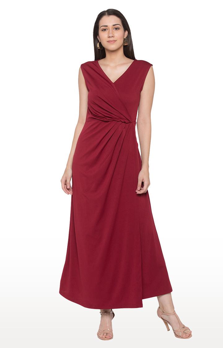 globus   Red Solid Maxi Dress