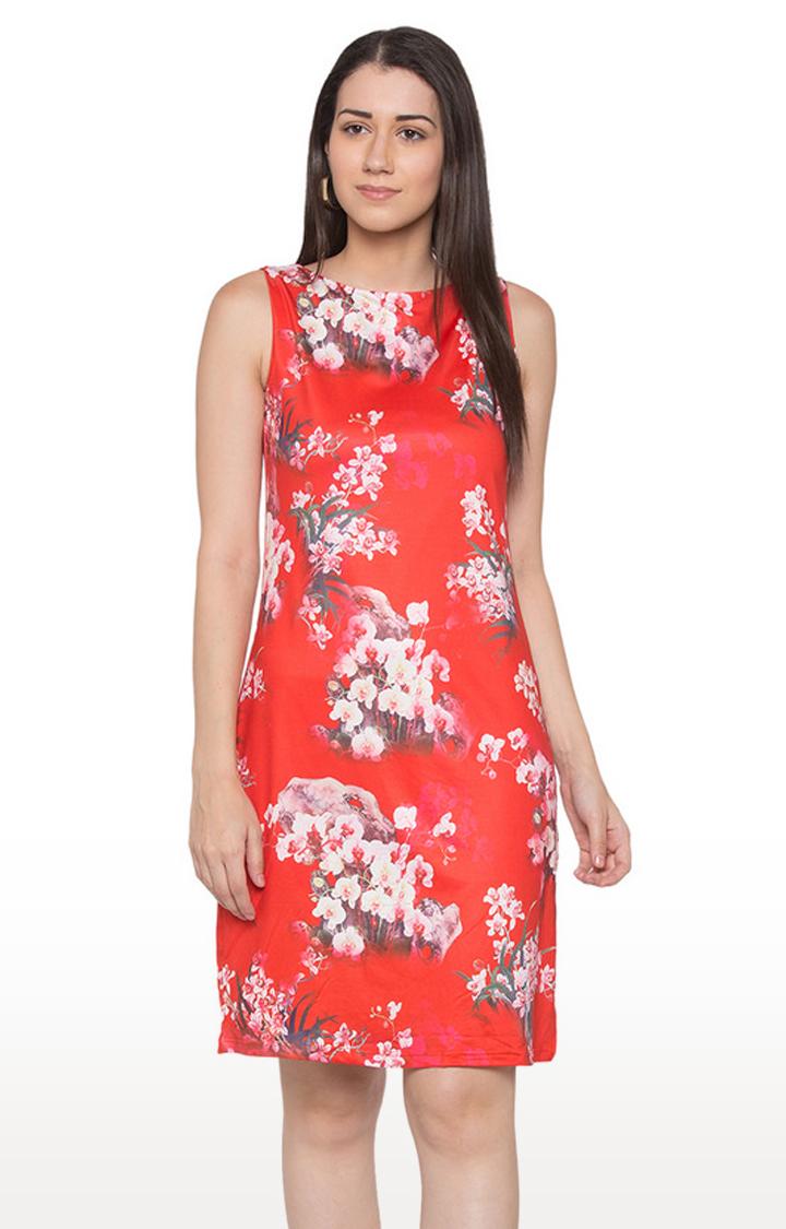 globus | Red Floral Shift Dress