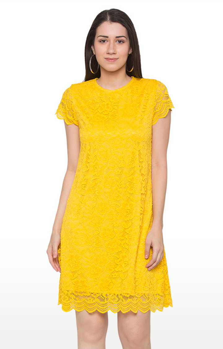 globus | Yellow Embroidered Shift Dress