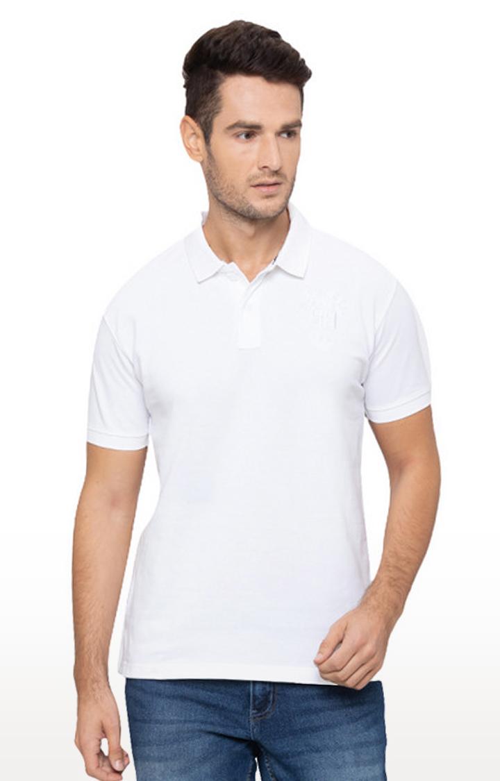 globus | White Solid Polo T-Shirt