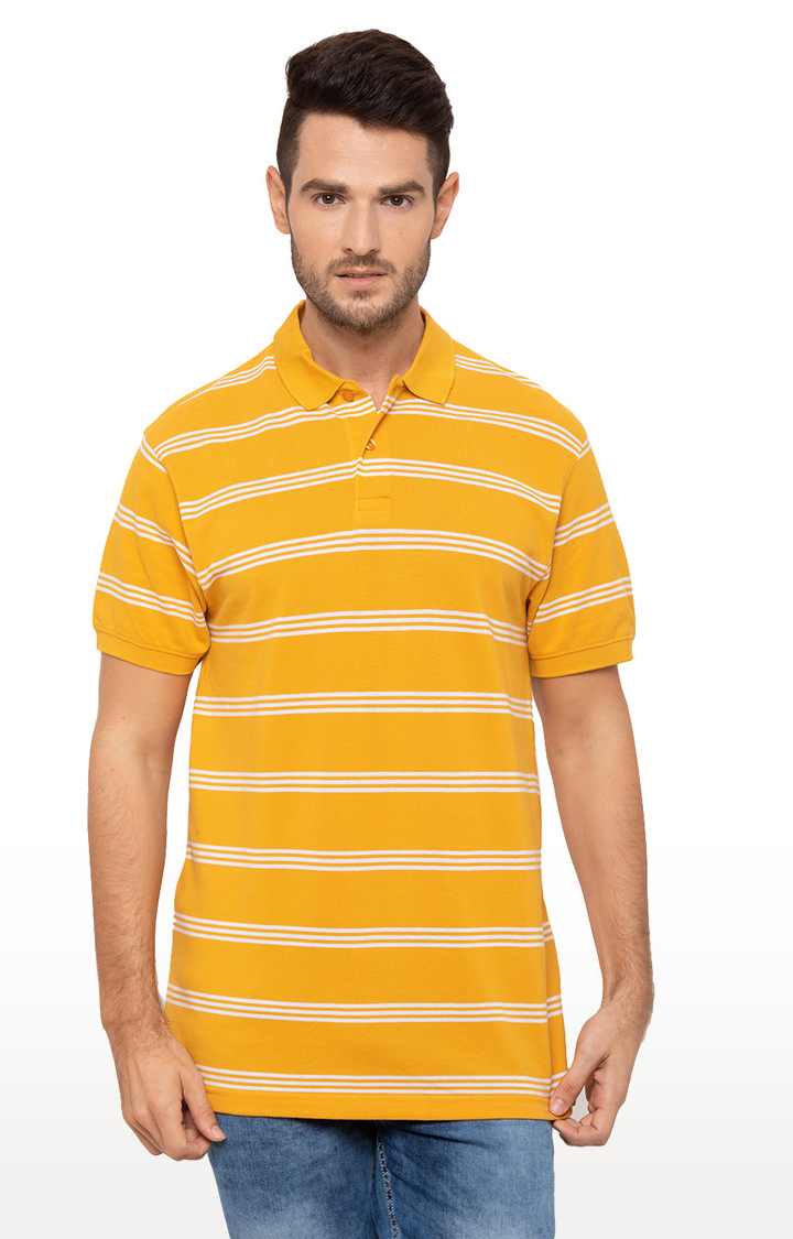 globus | Yellow Striped Polo T-Shirt