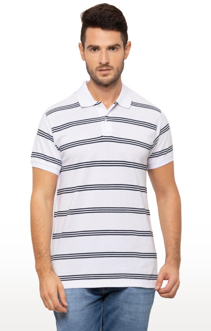 globus | White Striped Polo T-Shirt