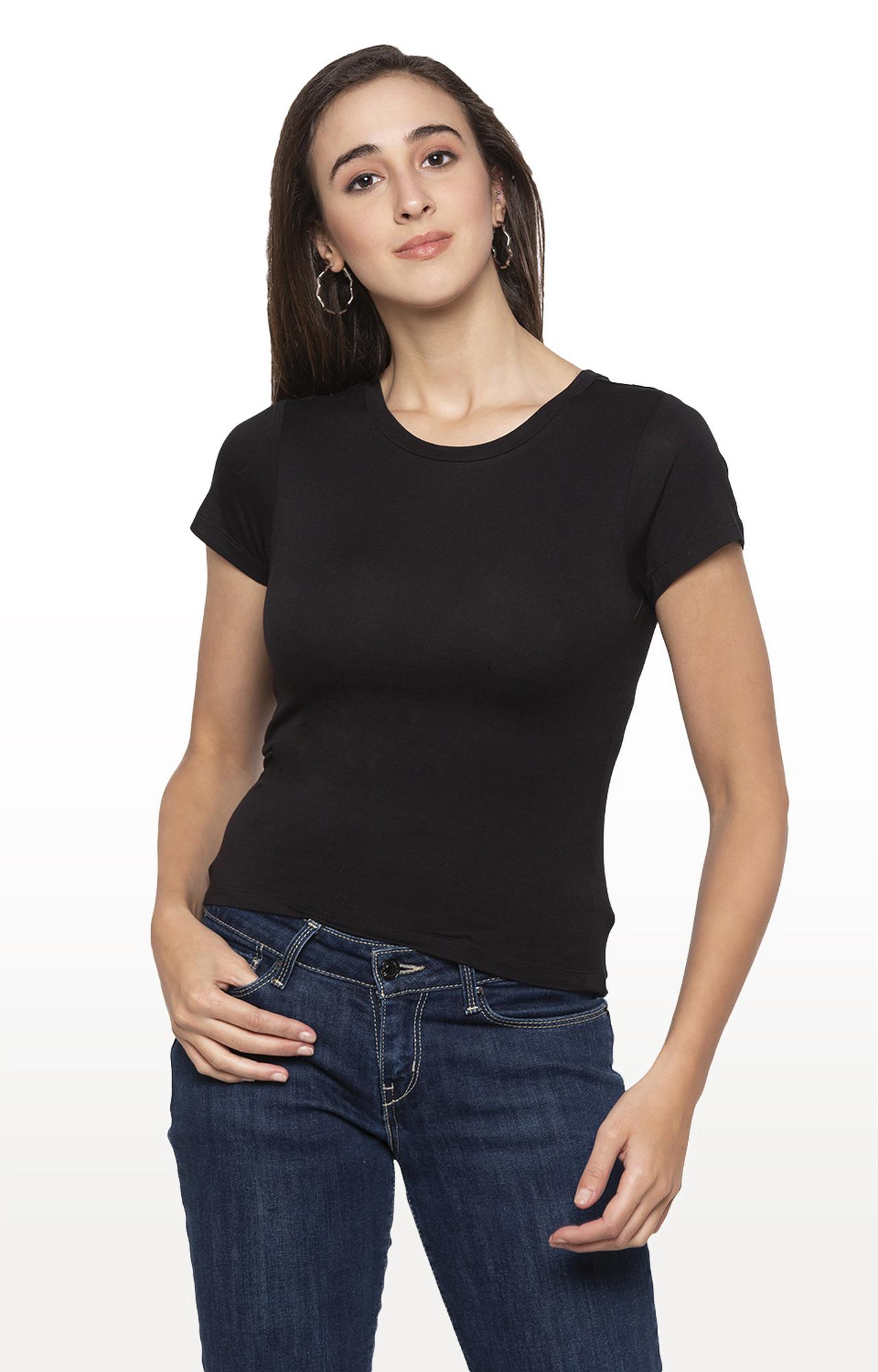 globus   Black Solid T-Shirt