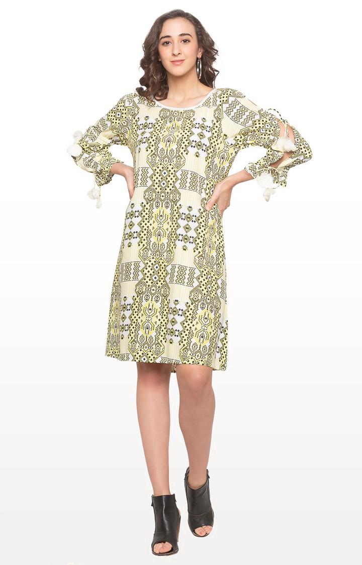 globus | Yellow Printed Shift Dress