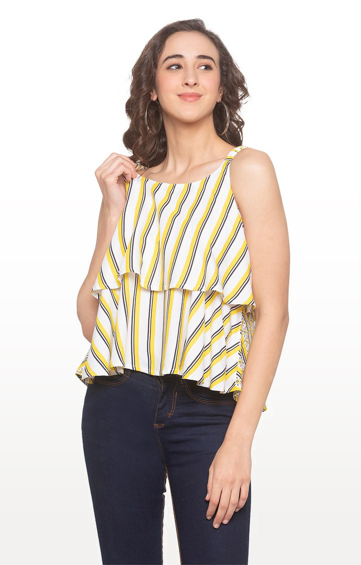 globus | Yellow Striped Strappy Top