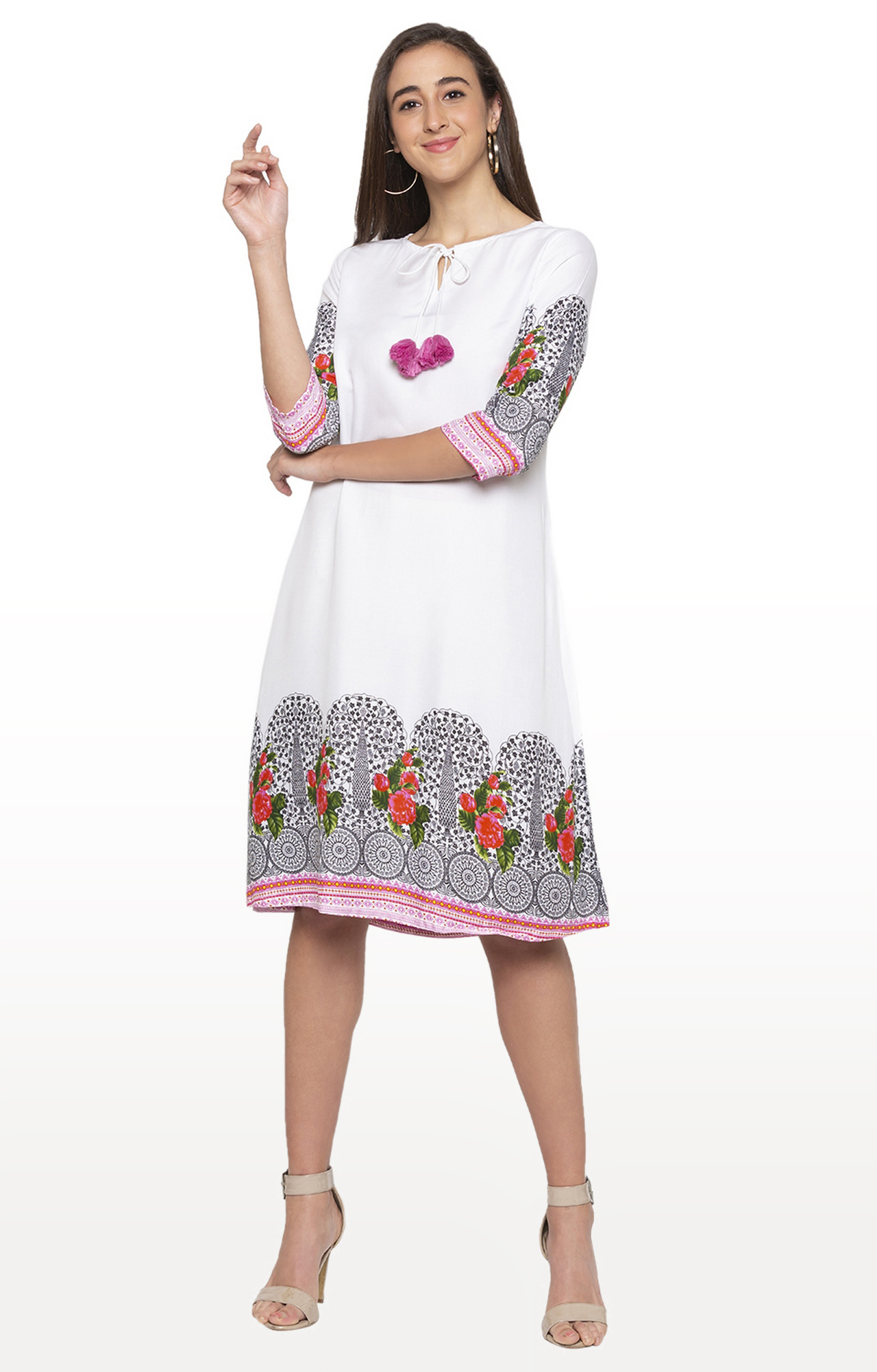 globus   White Printed Shift Dress