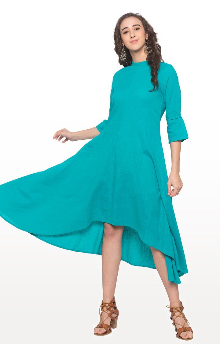 globus | Blue Solid Asymmetric Dress
