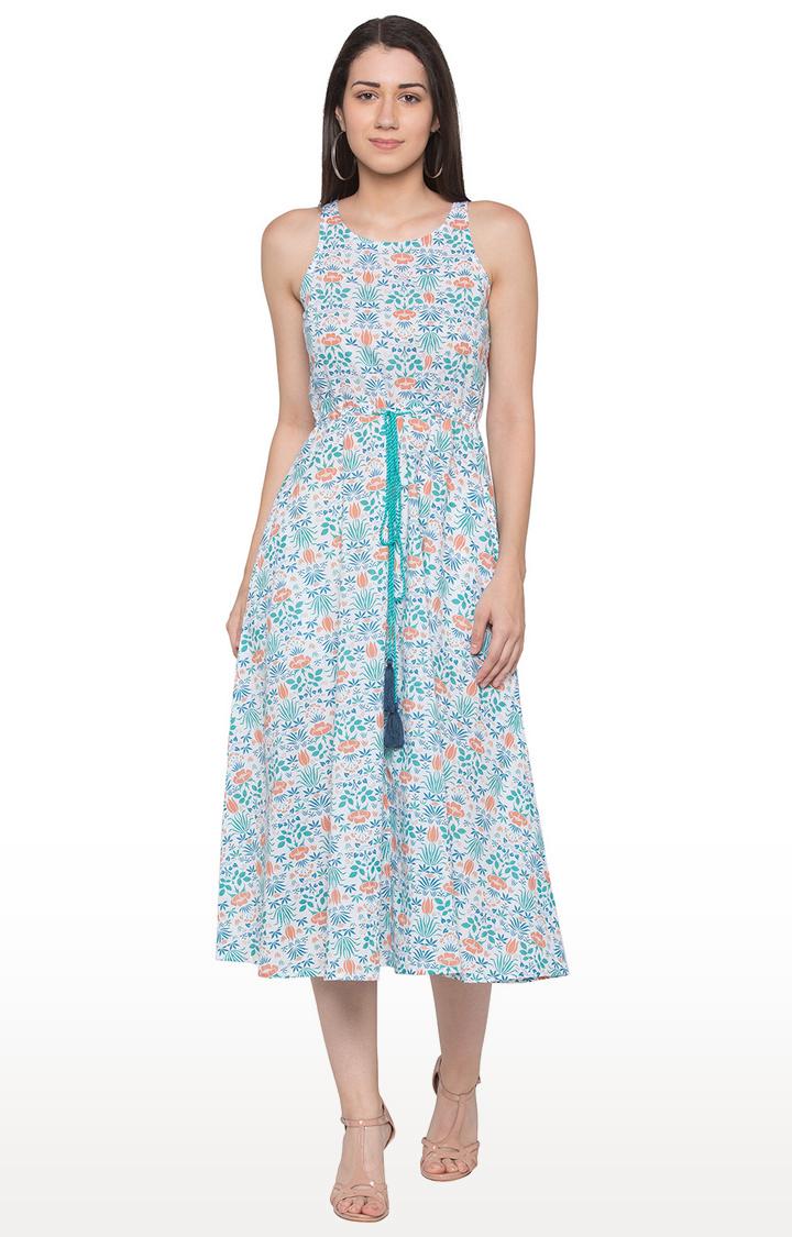 globus   Blue and White Floral Skater Dress