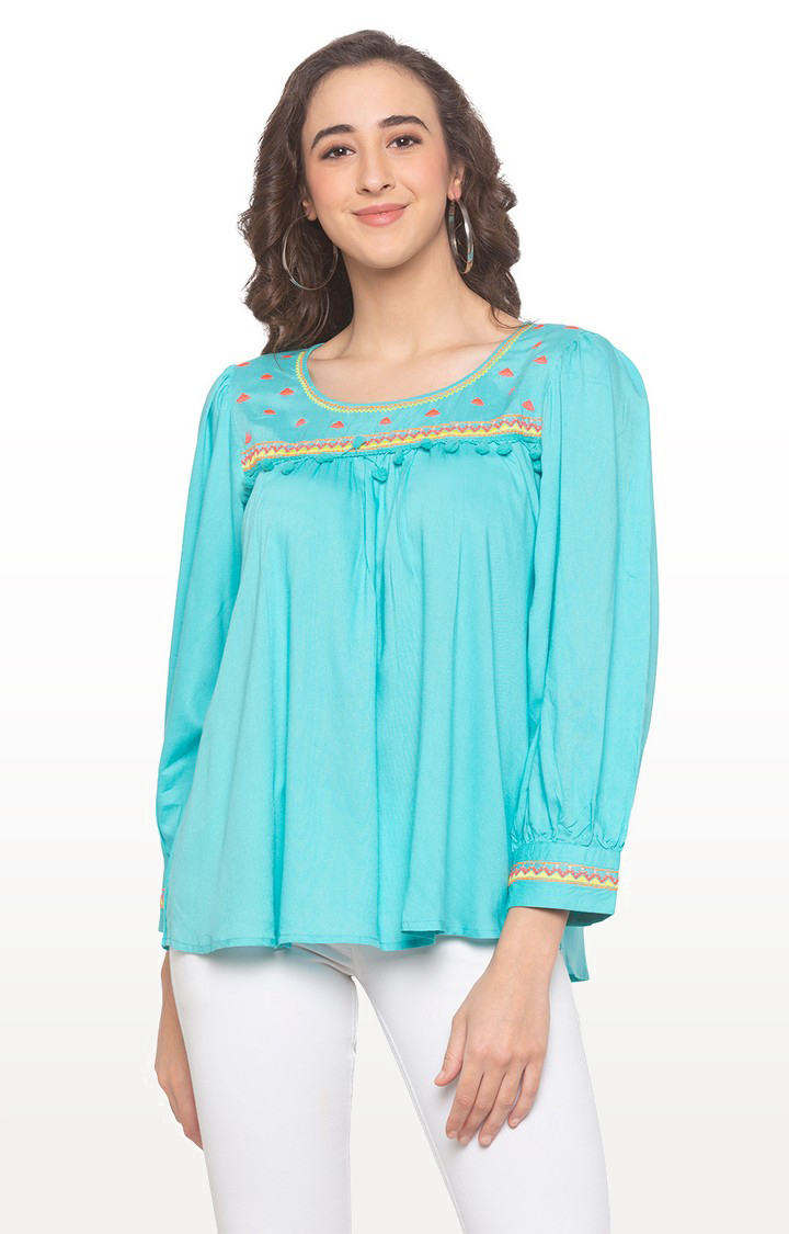 globus | Blue Embroidered Top