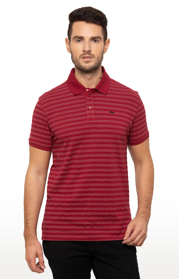 globus | Red Striped Polo T-Shirt
