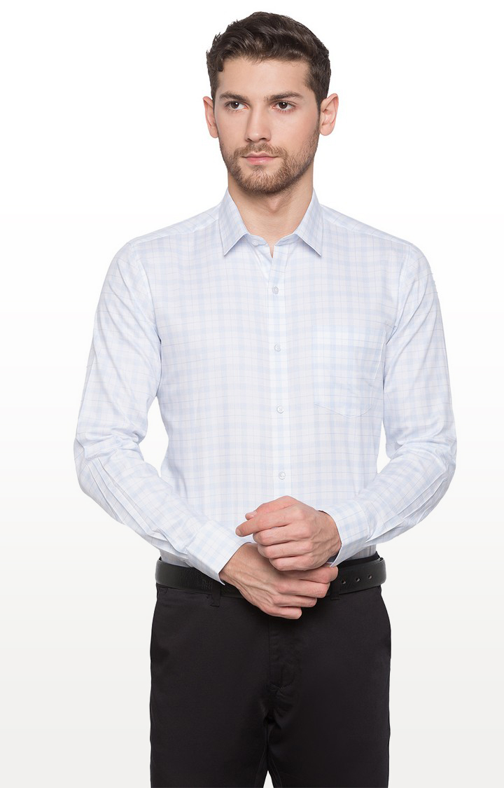 globus   White Checked Formal Shirt
