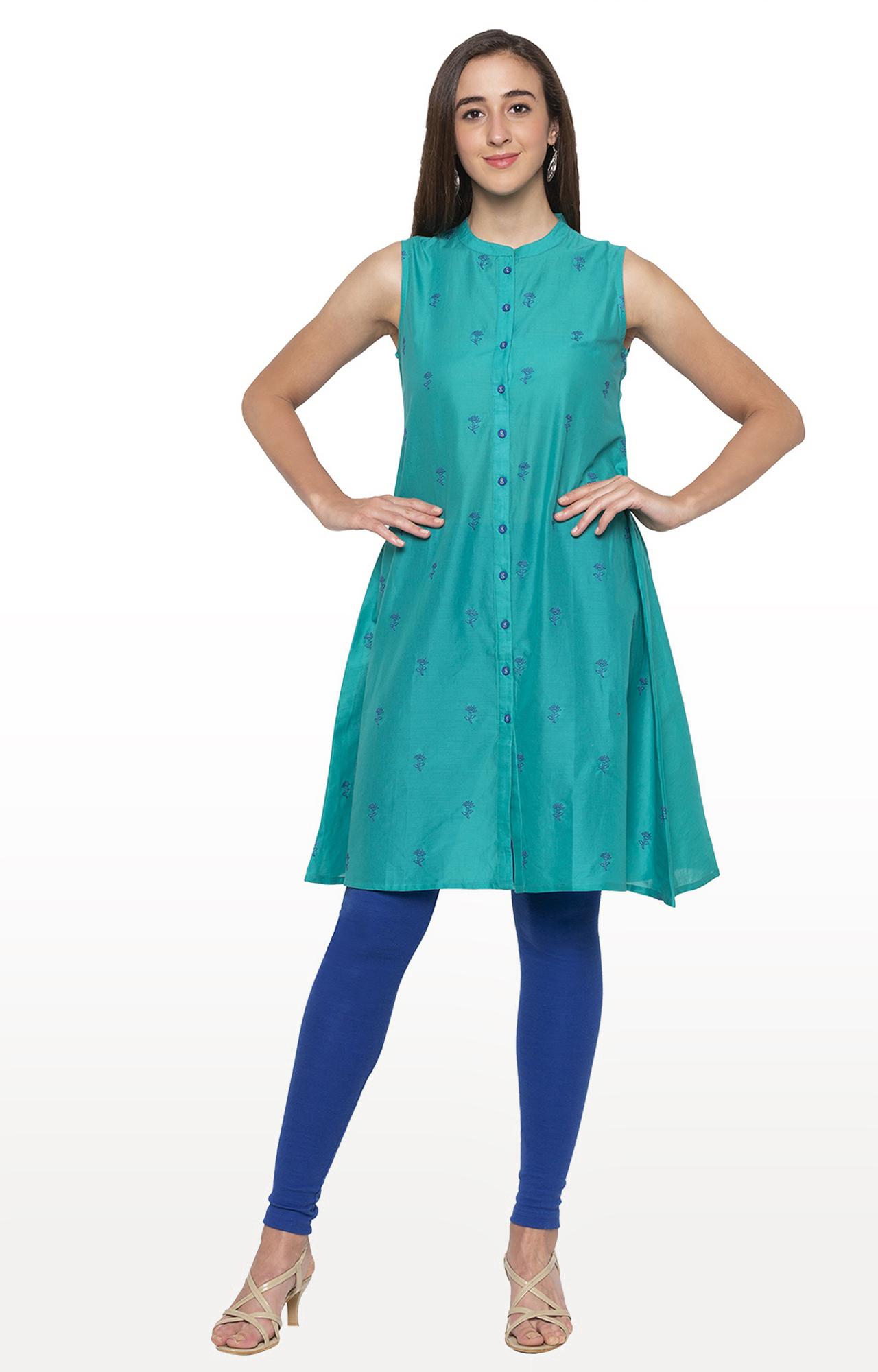 globus | Blue Embroidered Regular Kurti
