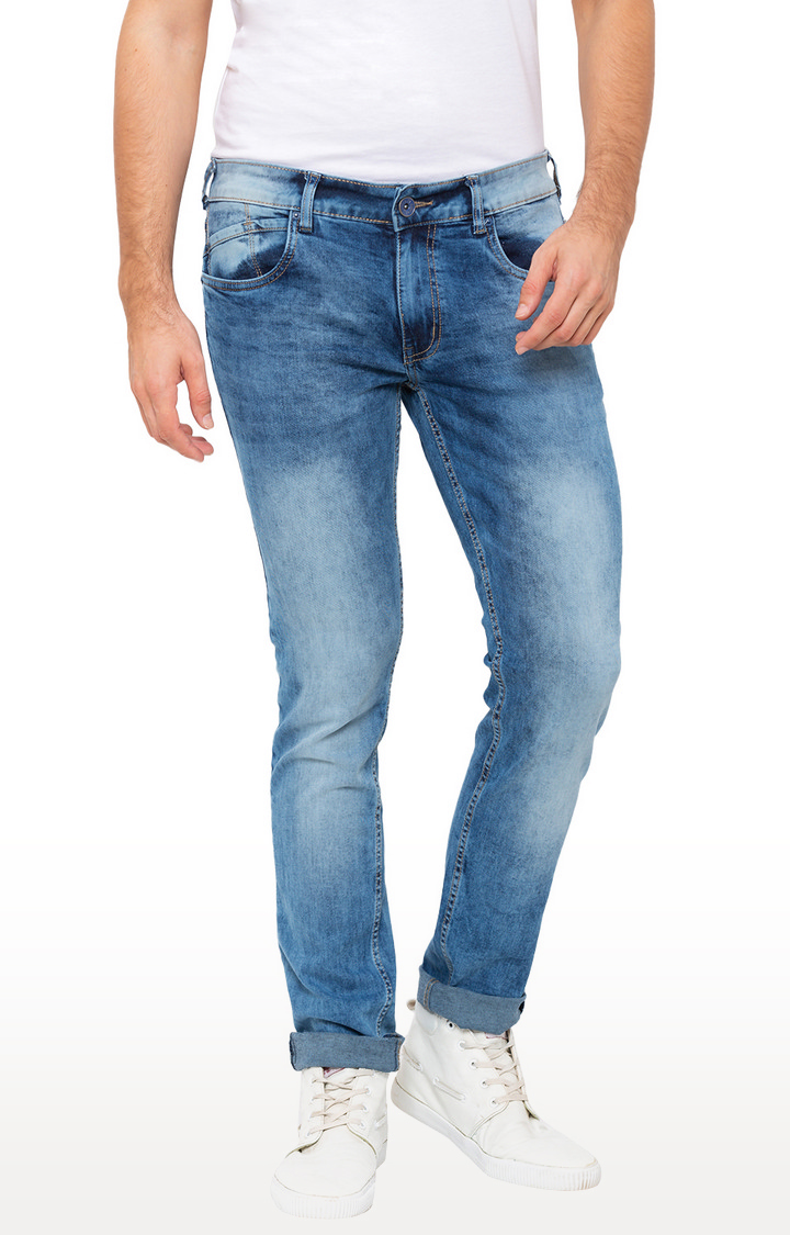 globus | Blue Solid Skinny Fit Jeans