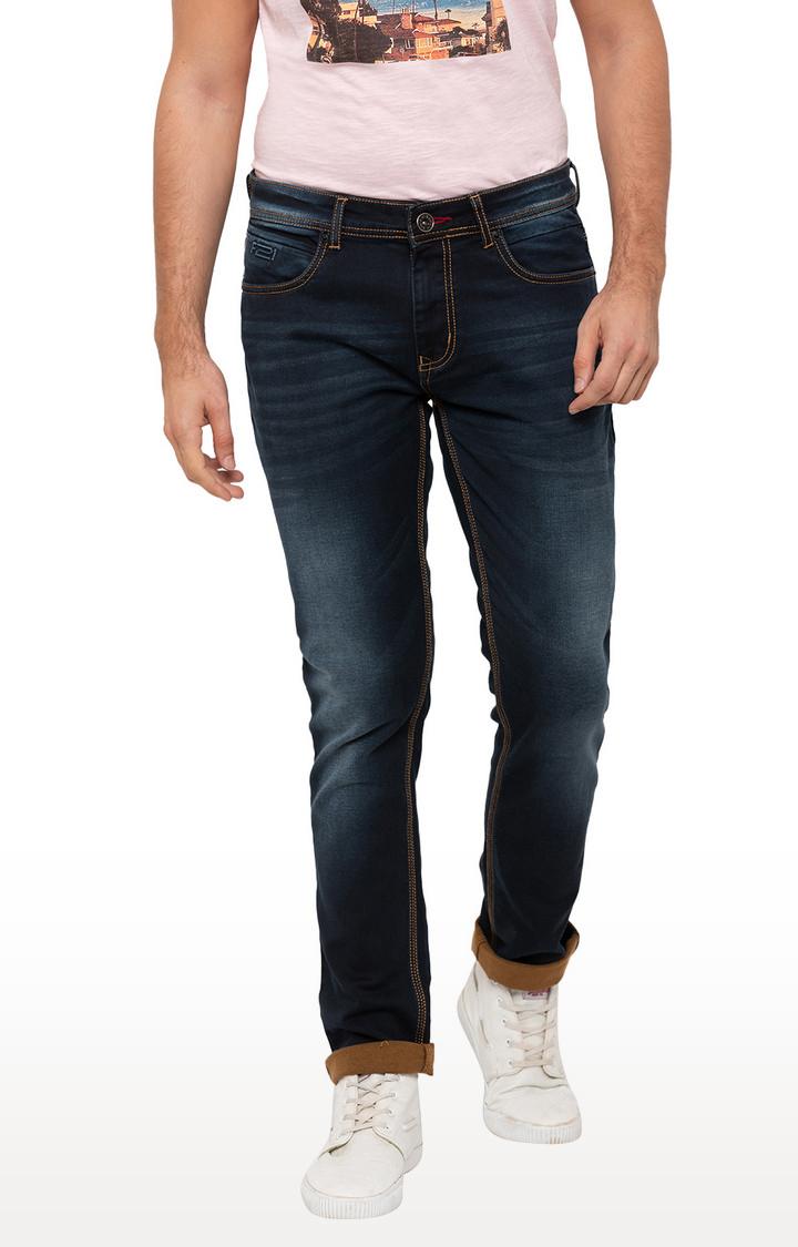 globus   Blue Solid Skinny Fit Jeans
