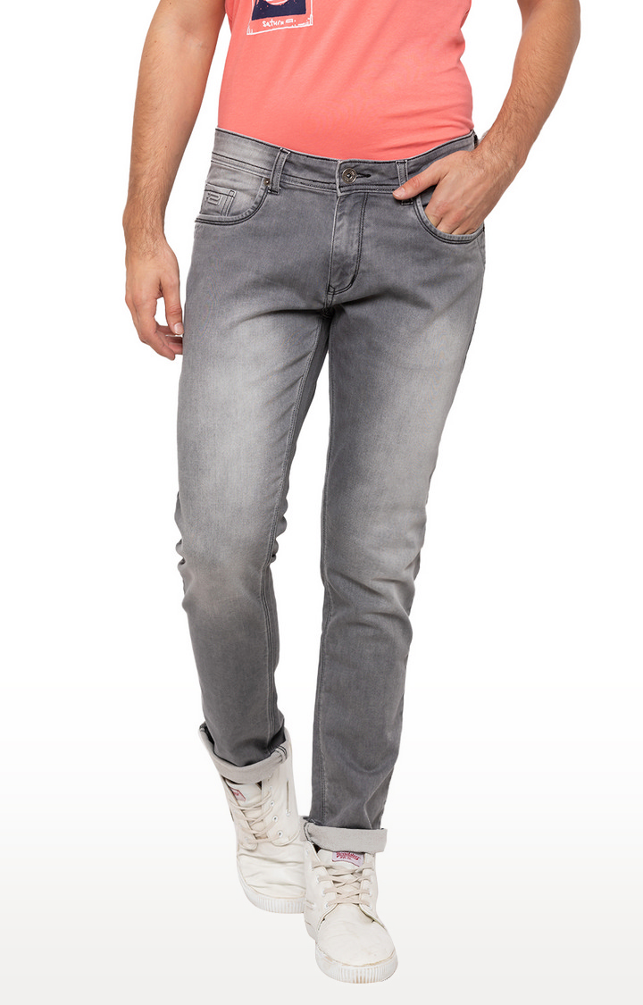 globus | Grey Solid Skinny Fit Jeans