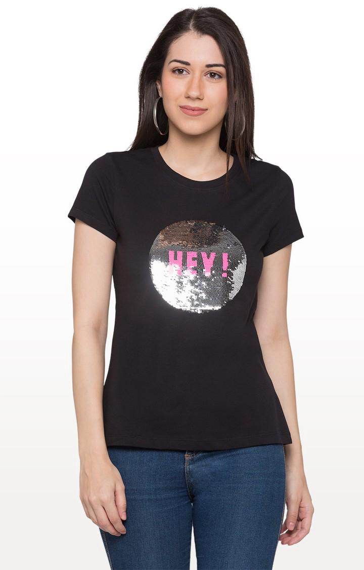 globus   Black Self Design T-Shirt